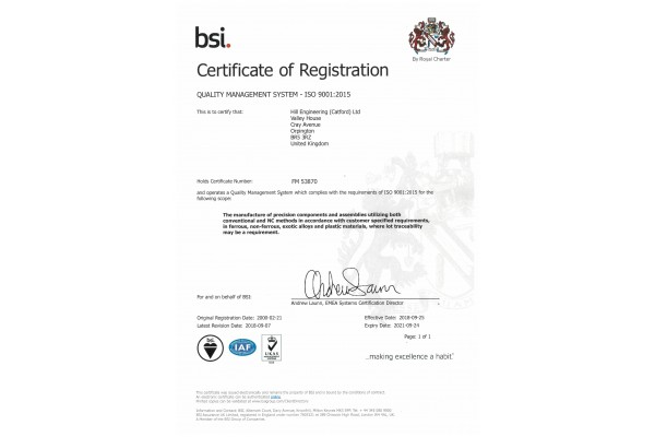 Quality Control - BS EN ISO9001:2015